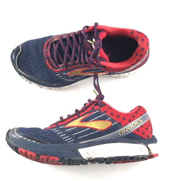 3542daefbd7 Brooks Shoes - Brook Ghost 9 Running Shoe Red Blue Stars